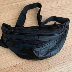 Vintage Black Patch Faux Leather Fanny Pack Bag